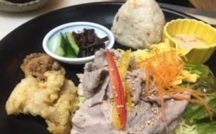7/8(土)はっちゃんの台所のランチプレートは、豚しゃぶ冷麺+鯛めしおにぎりとエトセトラ。
